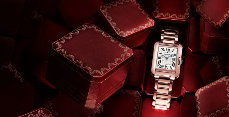 rose gold copy Cartier Tank Anglaise